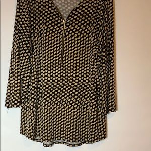 Chico's Long Sleeve Blouse Black and Tan Checked
